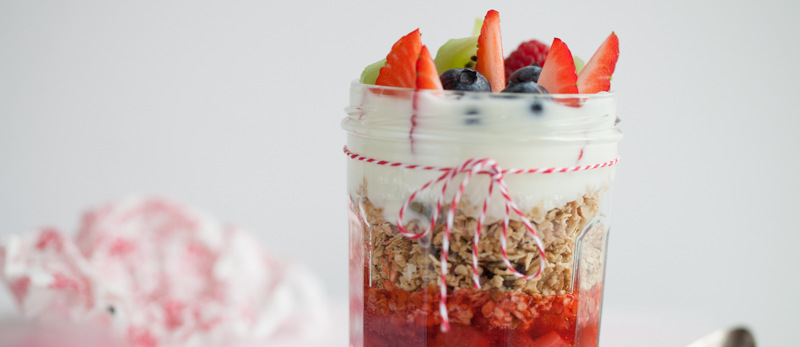 Granola jars with fruit compote