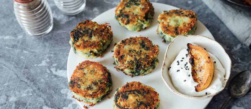 Spicy potato cakes with caramelised lemon