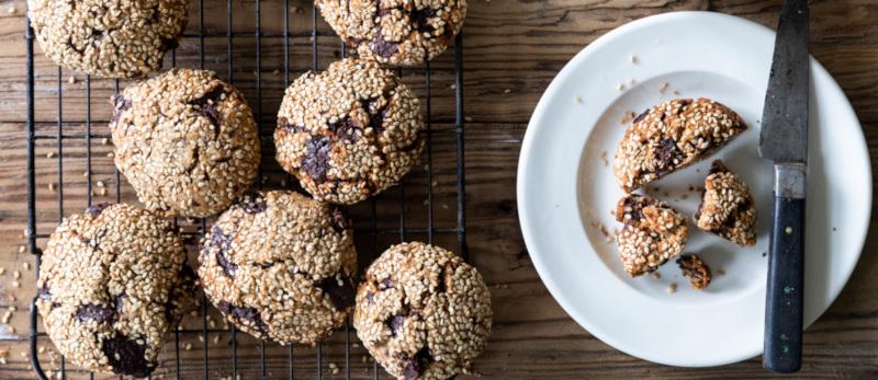 Tahini and Rye Chocolate Cookies