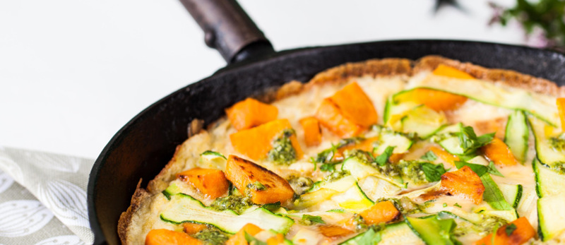 Sweet potato, courgette and herb frittata with pesto