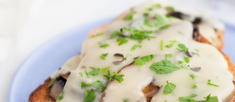 Portobello mushrooms in a white sauce