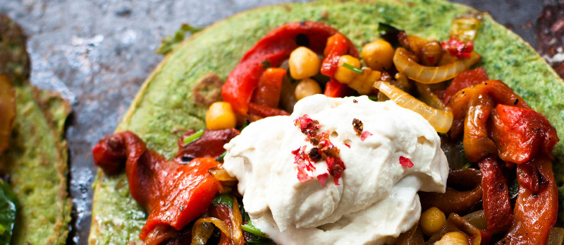 Buckwheat and spinach pancakes with roasted peppers