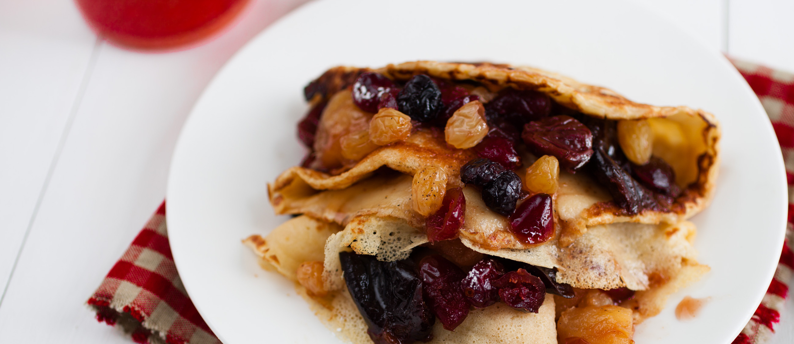 Pancakes with winter fruit compote