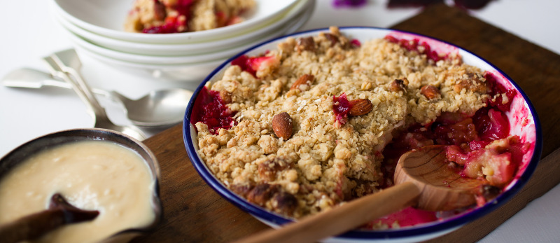 Plum and apple crumble with vanilla custard