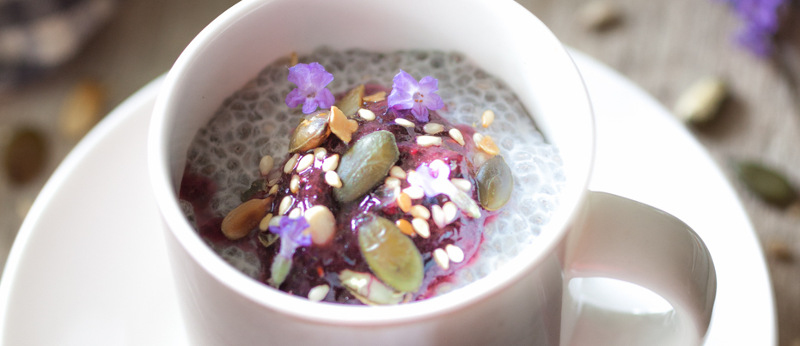 Chia, blueberries and toasted seeds